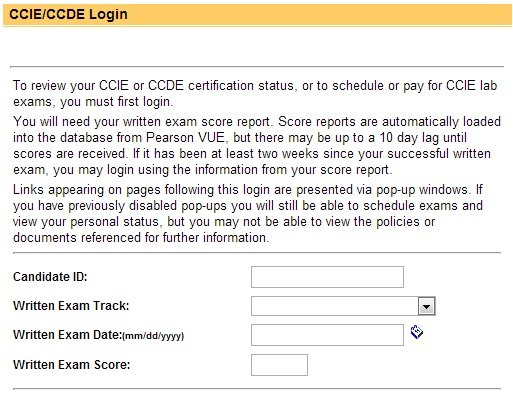 CCIE Login Page - Thanks to @MrTugs